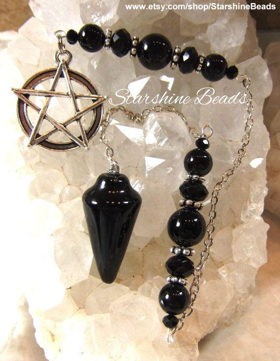 Black Onyx Pentagram Pendulum Onyx Pendulum by StarshineBeads