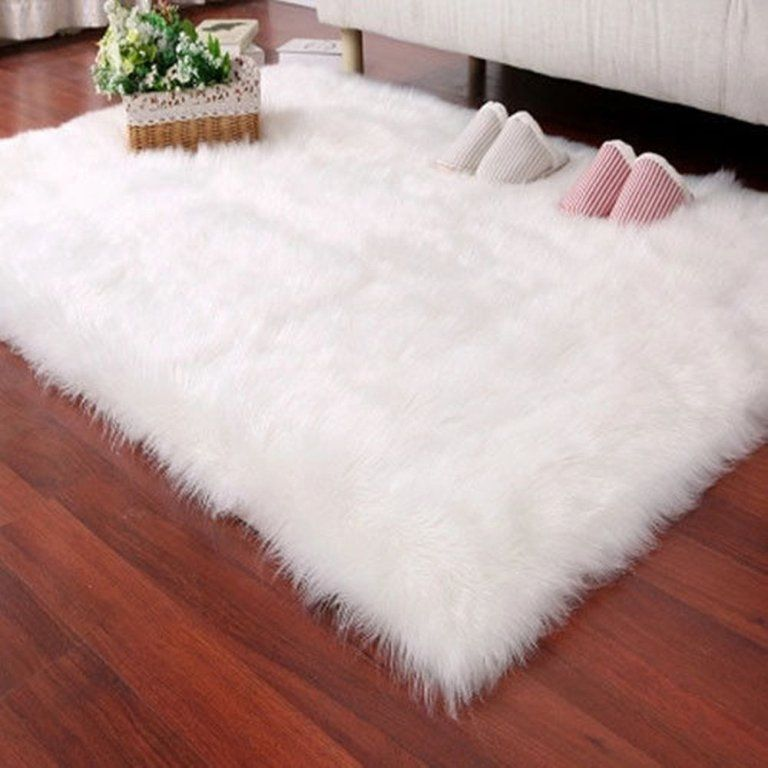 Deluxe Soft Faux Sheepskin Carpet Plain Shaggy Area Rugs Bedroom Sofa Floor Mat Fur Fluffy Floating Window Round White Extremely