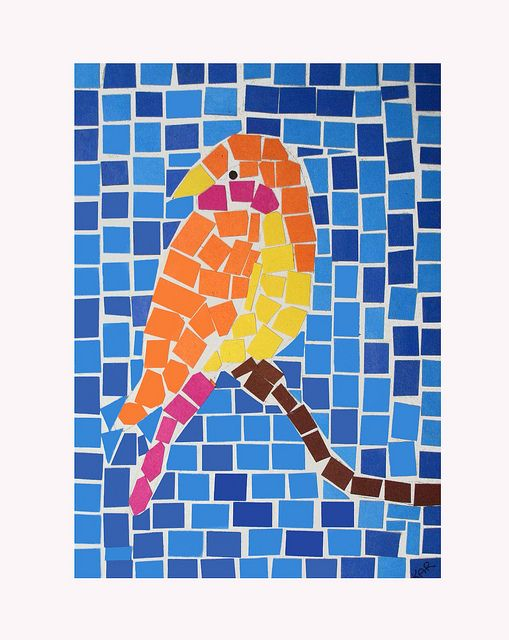 roman mosaic templates for kids - bird mosaic mosaics bird and paper mosaic