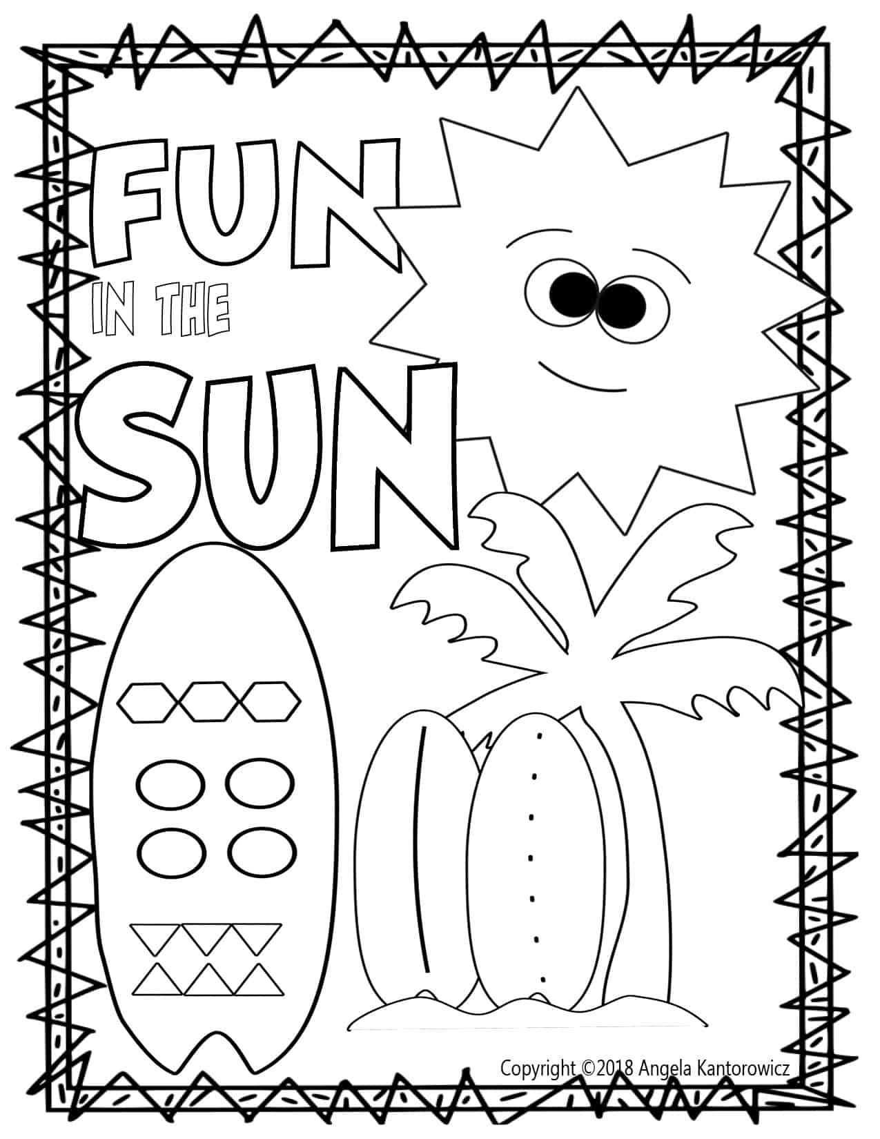Fun In The Sun Color Sheet Free Teacher Resource Free