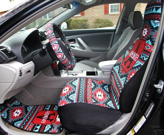 Aztec Car Seat Covers Set Of Two Front Tribal Monogrammed Personalized Accessories For Vehicle By ChicMonogram On