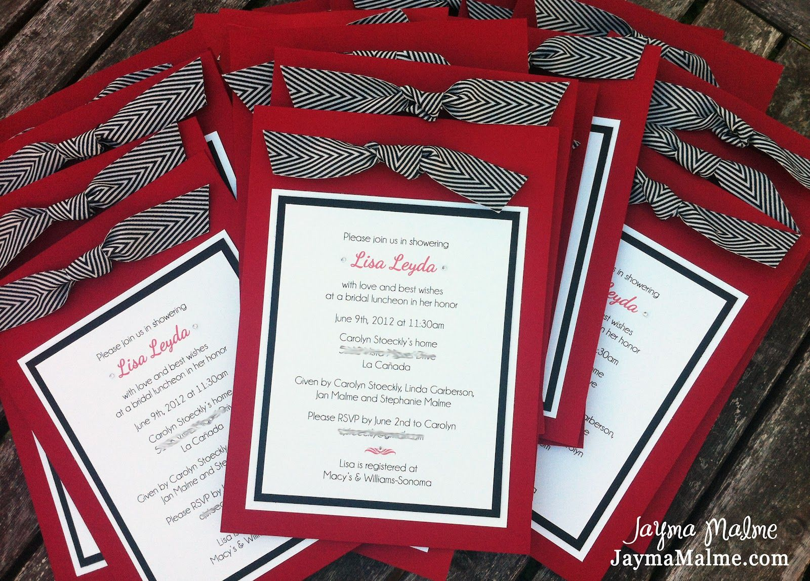 simple diy bridal shower invitations%0A Playing with Paper  CTMH Scrapbooks  Cards  u     DIY  Bridal Shower Invitations   Red
