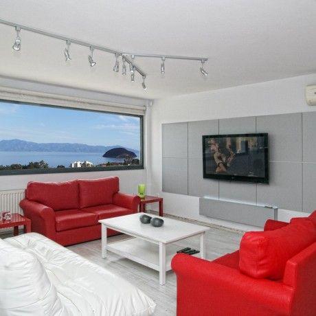 Interior beach apartment design come with red white