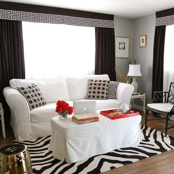 White Living Room Furnishings And Zebra Decor Accessories Pictures