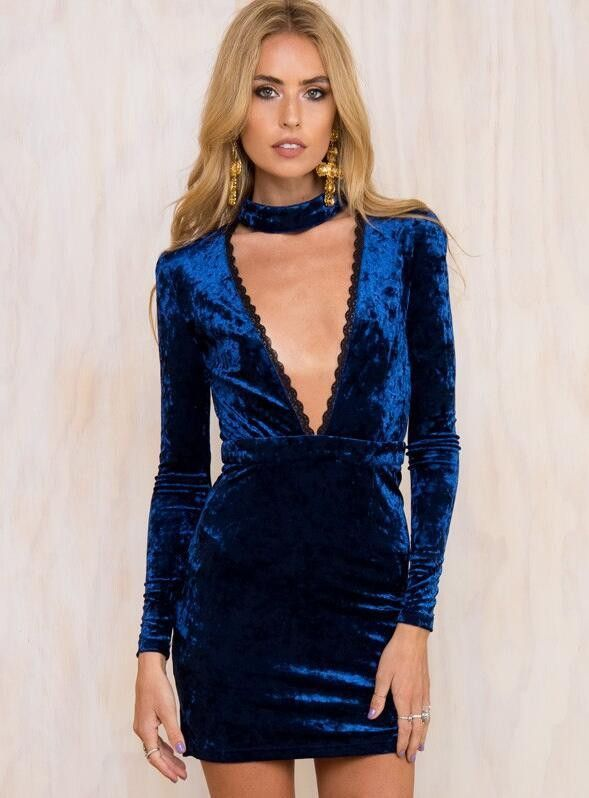37882b631e54 Sexy Low-Cut Halter Pleuche Bodycon Dress. Sexy Low-Cut Halter Pleuche Bodycon  Dress Blue Velvet ...