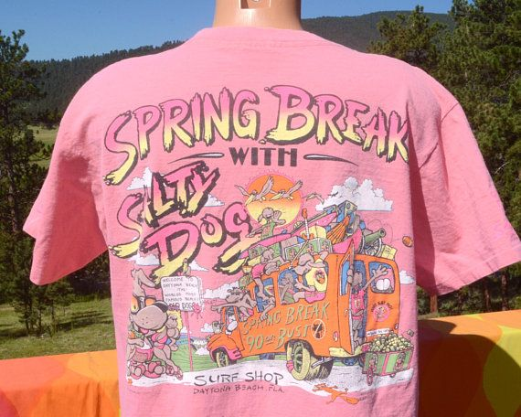 83824d596 vintage 80s t-shirt SALTY DOG surf shop daytona beach spring break neon  pocket tee XL Large