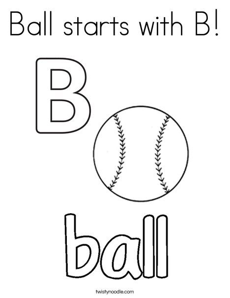 Ball starts with b coloring page