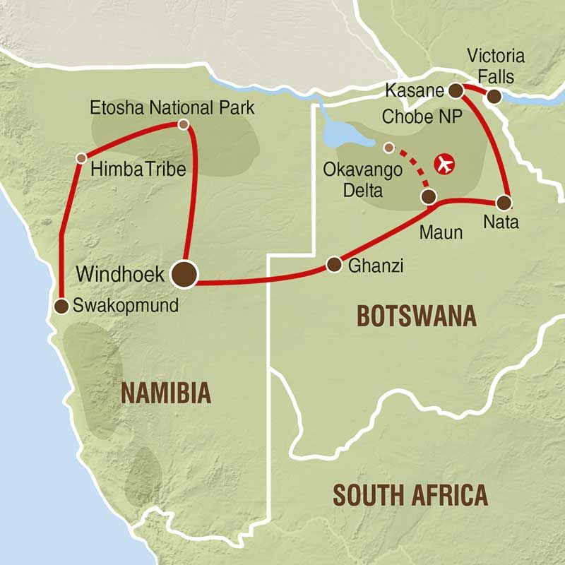 Wuste Und Delta Ihre Reiseroute Okavango Delta Reisen Botswana
