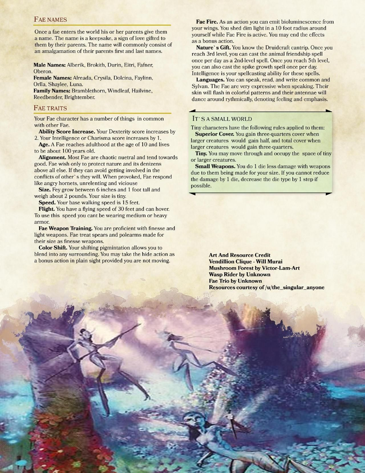 DnD 5e Homebrew — Fae Race by PoundTown00 | classes | Dnd 5e