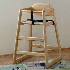 La Baby Restaurant Style Wooden High Chair Natural Commercial