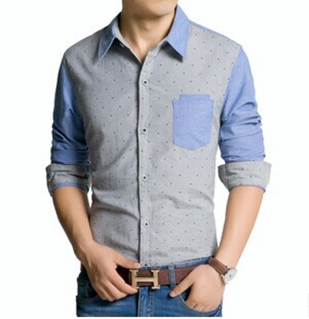 QualityUC Mens High Quality Buttoned Pattern Long Sleeve Collared Shirt