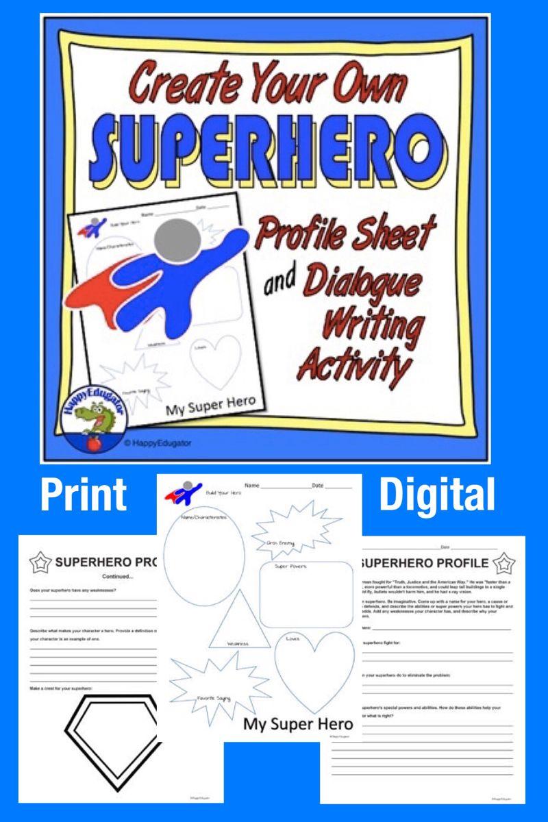 Superhero Profile Sheet And Dialogue Writing W Tpt Digital Activity In 2021 Writing Dialogue Writing Activities Digital Activities [ 1200 x 800 Pixel ]