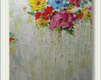 Original Abstract Painting- Summer Time I- Modern, Contemporary, Palette Knife 24x30