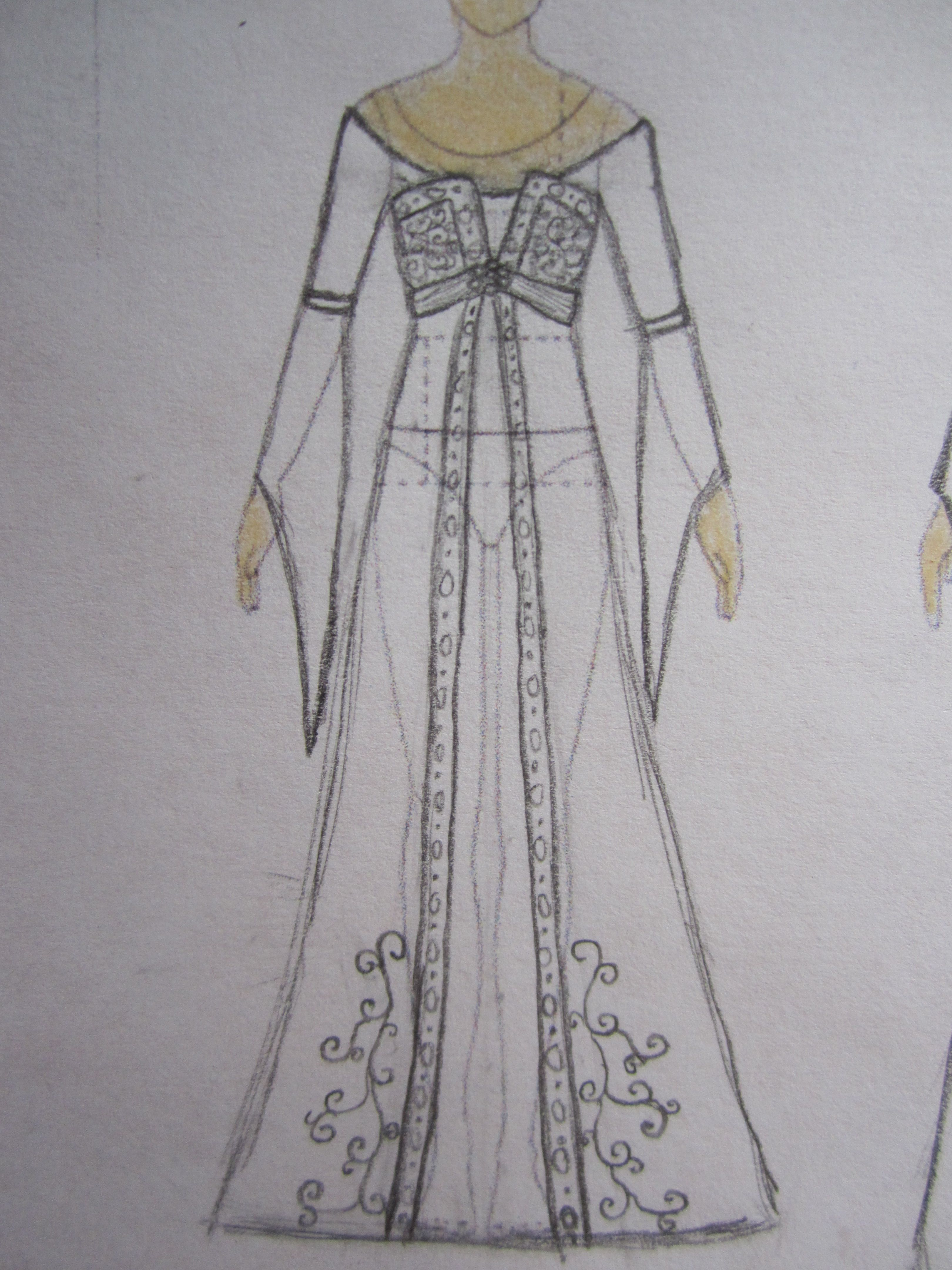 Medievalinspired wedding dress sketched by abigail gibson