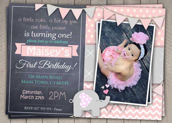 Elephant Girls Pink Grey 1st Birthday Invitation Download First Photo Invites Chalkboard Bunting DIY Digital 38