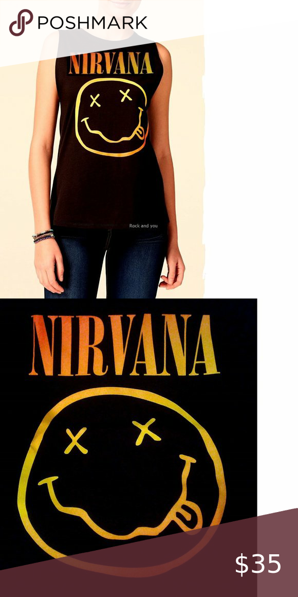 Nirvana Gradient Smiley Logo Tank Top S M Nwt Logo Tank Top Logo Tanks Metal T Shirts