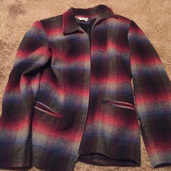 Cute Van Heusen plaid jacket. Cute Van Heusen plaid jacket. Shades of red, blue and tan Van Heusen Jackets & Coats