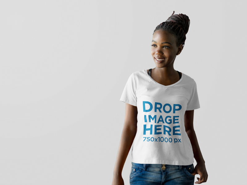 New Beautiful Black Woman At A Photo Studio T Shirt Mockup Try It Here Https Placeit Net C Apparel Stages Beau Shirt Mockup Clothing Mockup Latest T Shirt