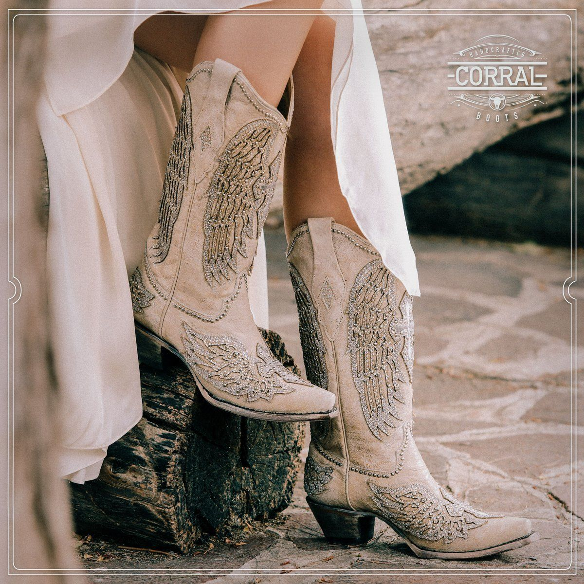 9fd7515fcb1 Corral Women's White Winged Cross Glitter & Studded Overlay Boots ...