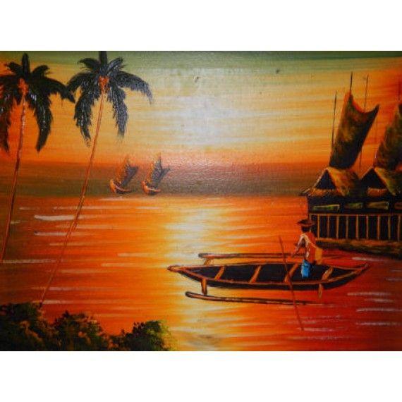 Lukisan objek pemandangan laut senja Panajang  40 cm