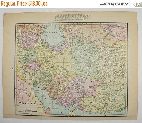1900 Antique Map Iran Persia Map Afghanistan Pakistan Map