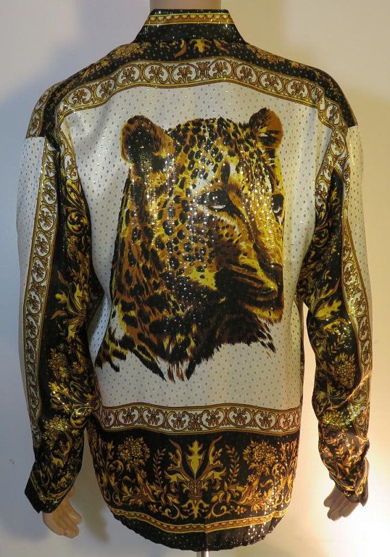 Versace inspired LEOPARD Style Silk Shirt by silvaleathercrafters ... dbc40b82744