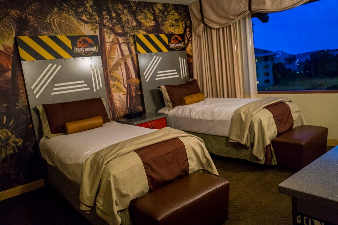 Floor Painted Wood Jurassic Park Themed Bedroom Midcentury Style
