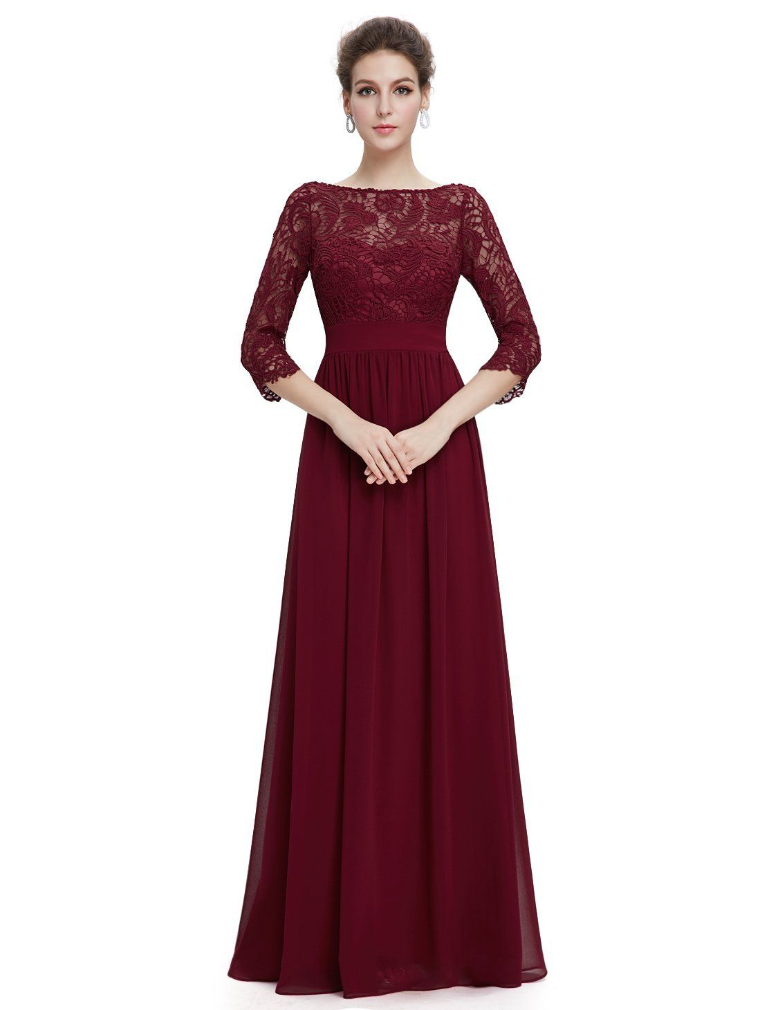 Ever pretty womenus lace long sleeve floor length evening dress