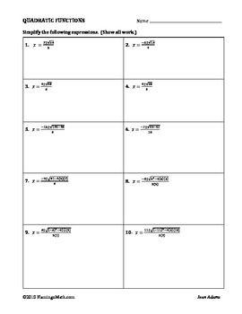 The Quadratic Formula Calculator Practice worksheet is an ...