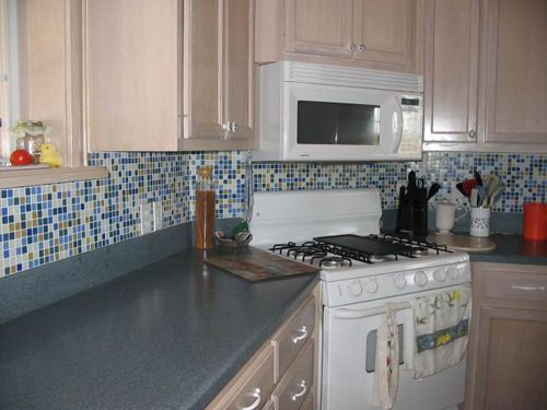 Bijou Blue And Green Kitchen Backsplash With Glass Mosaic Tiles