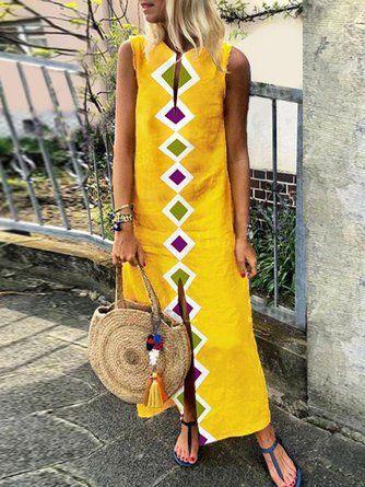 2b96bede6a9d Shift Women Daytime Sleeveless Casual Slit Geometric Summer Dress   Women's  fashion   Pinterest   Roupas casuais, Roupas and Vestido longo