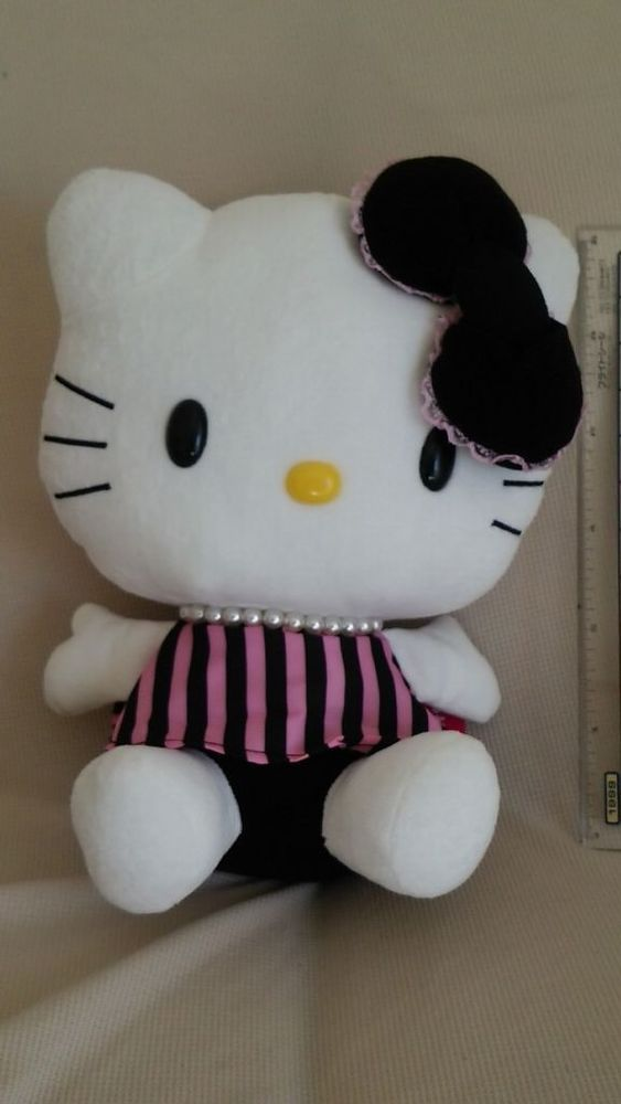 Hello Kitty Plush Doll Sanrio Rich Stripe Japan Limited 2014 Rare New  Rare F/S