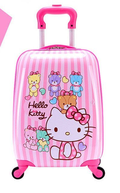 1cb75c22b3c Baby Girls Cute Hello Kitty Trolley Luggage Children ABS School Bags With  Wheels Kids 16   18   Cartoon Brand Travel Suitcase