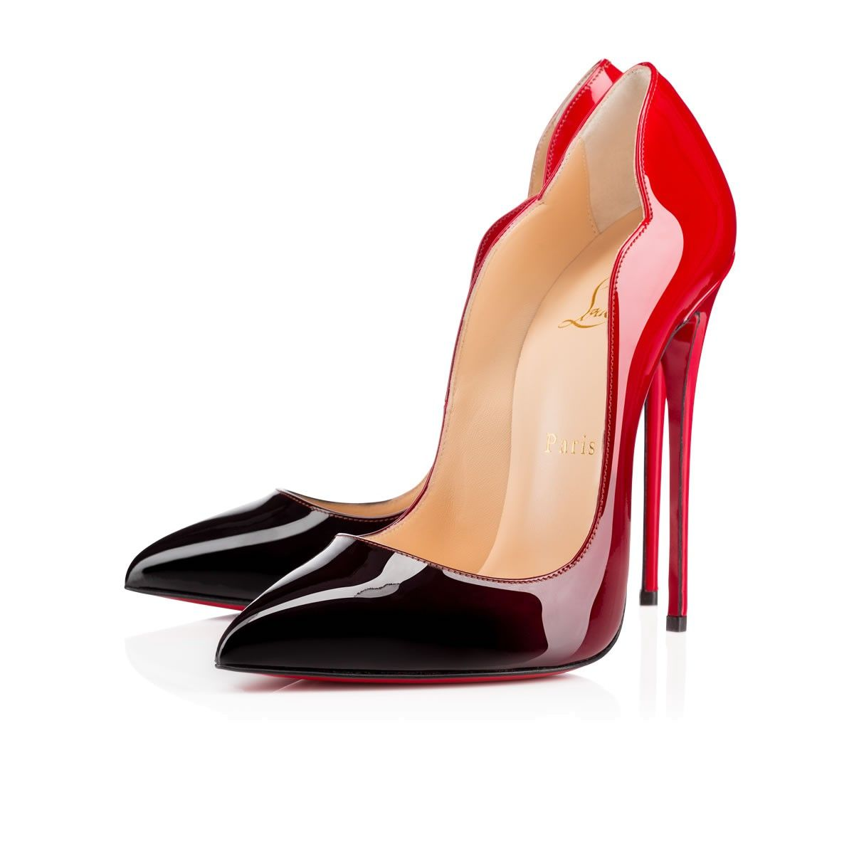3d700bd4bfa Red to Black Ombré Christian Louboutin Red Bottoms Pointed Toe High Heels  in Hot Chick
