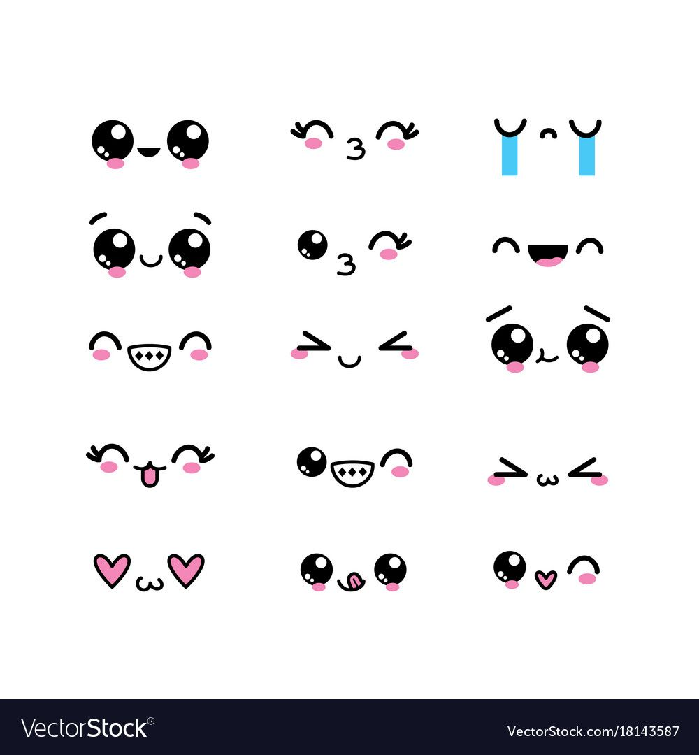Set Kawaii Faces Character With Expression Design Vector Illustration Download A Free Preview Or High Qua In 2020 Kawaii Faces Cute Easy Drawings Cute Kawaii Drawings