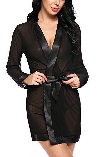 025f429e5 PSD Avidlove Women Lace Kimono Nightwear Sexy Lingerie Satin Sleepwear Soft  Babydolls