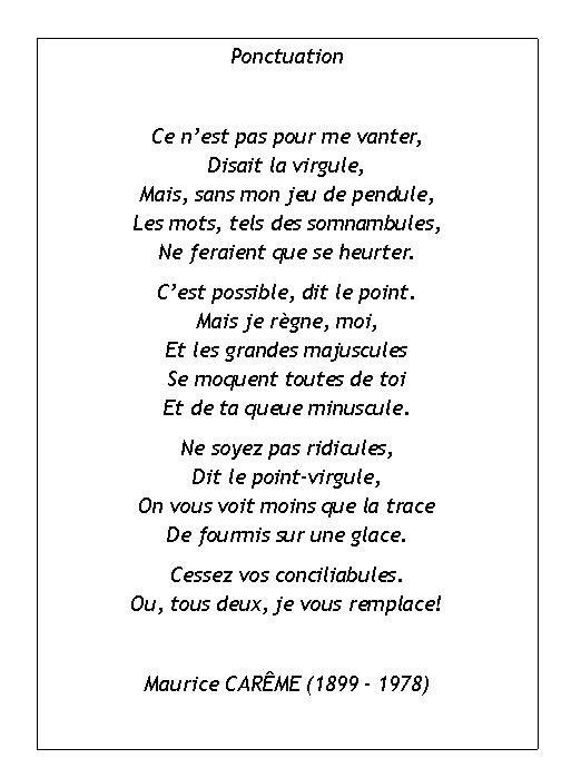 Poème de Maurice Carême - la ponctuation (image only)