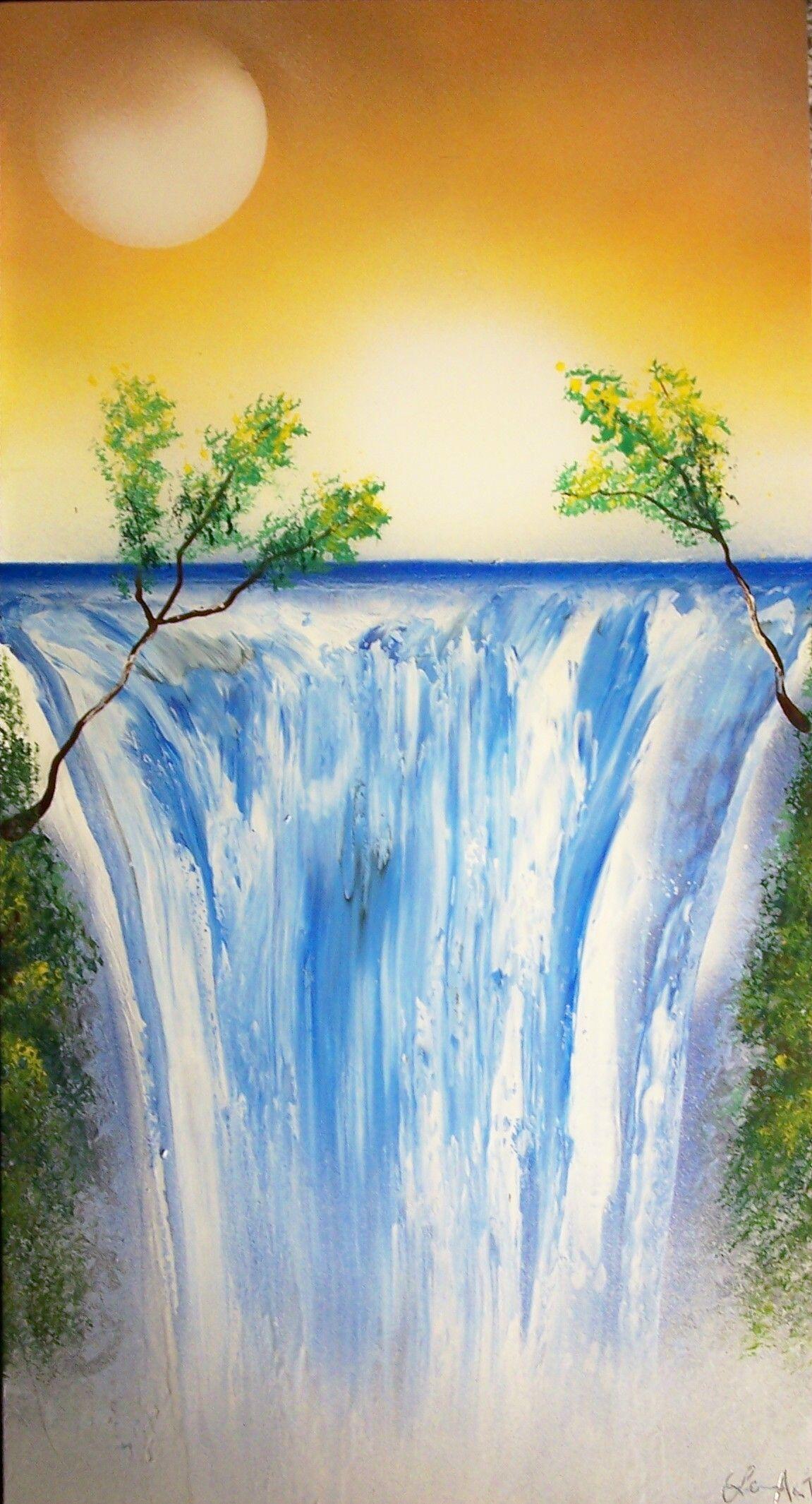 Art By Lenart Spray Paint On Glass Spray Paint Art Waterfall Paintings Art Painting