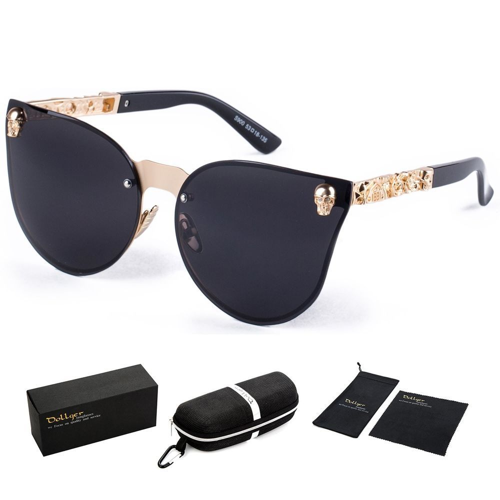 ef7c83f594 Dollger Skull Design Cat Eye Sunglasses UV400 Protection Crazy skulls  Sunglasses