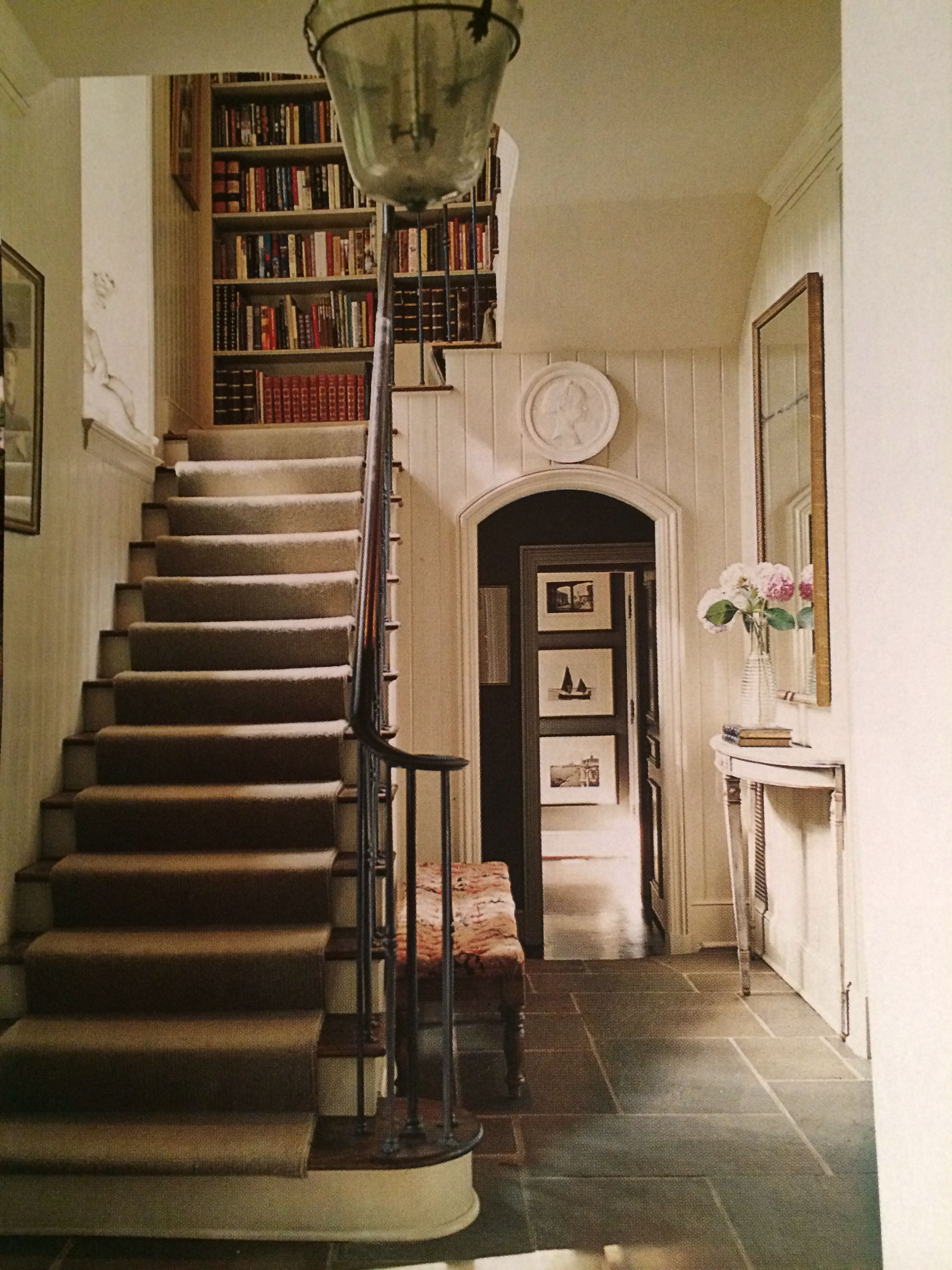 Home interior stairs love the bookcase at the top of the stairs  home decor  pinterest