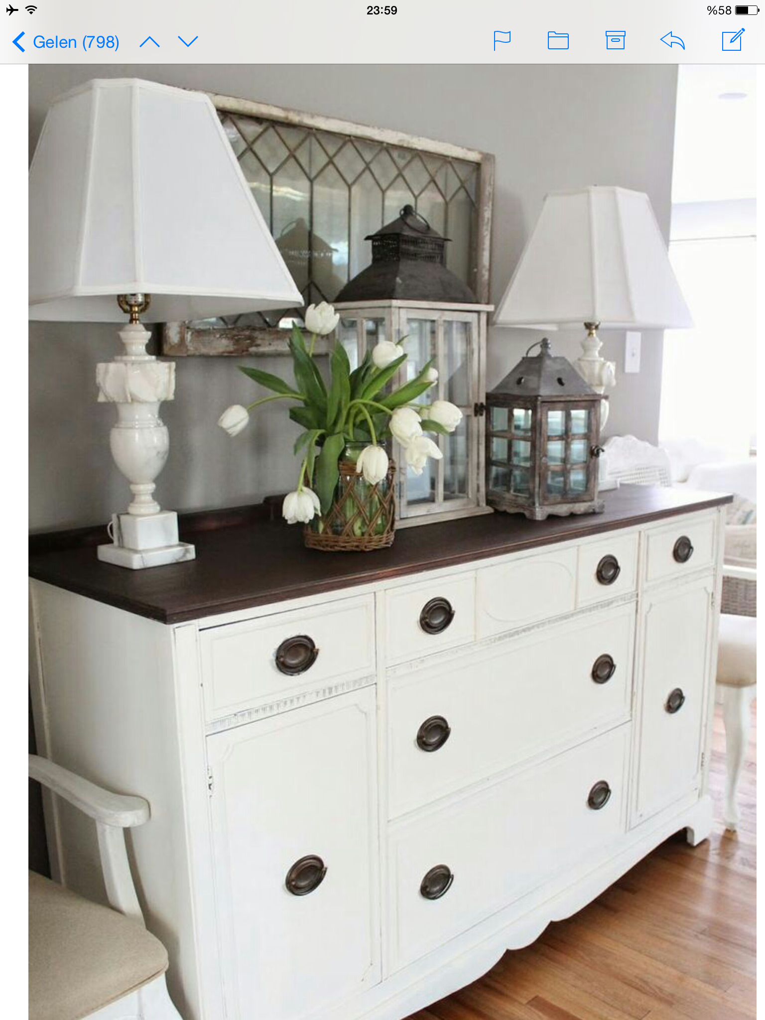 Find used dresser& chest of drawers, paint body& drawers white, java gel stain on top Table