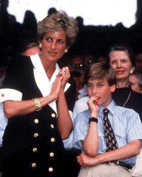 July 2, 1994: Princess Diana with Prince William at the Martina Navratilova VS. Conchita Martinez, woman's singles final at Wimbledon.