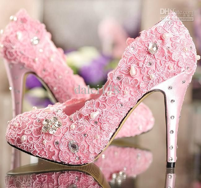 Elegant Luxurious Lace Rhinestones Pearls Pink Wedding Shoes By Tbdress Accessories