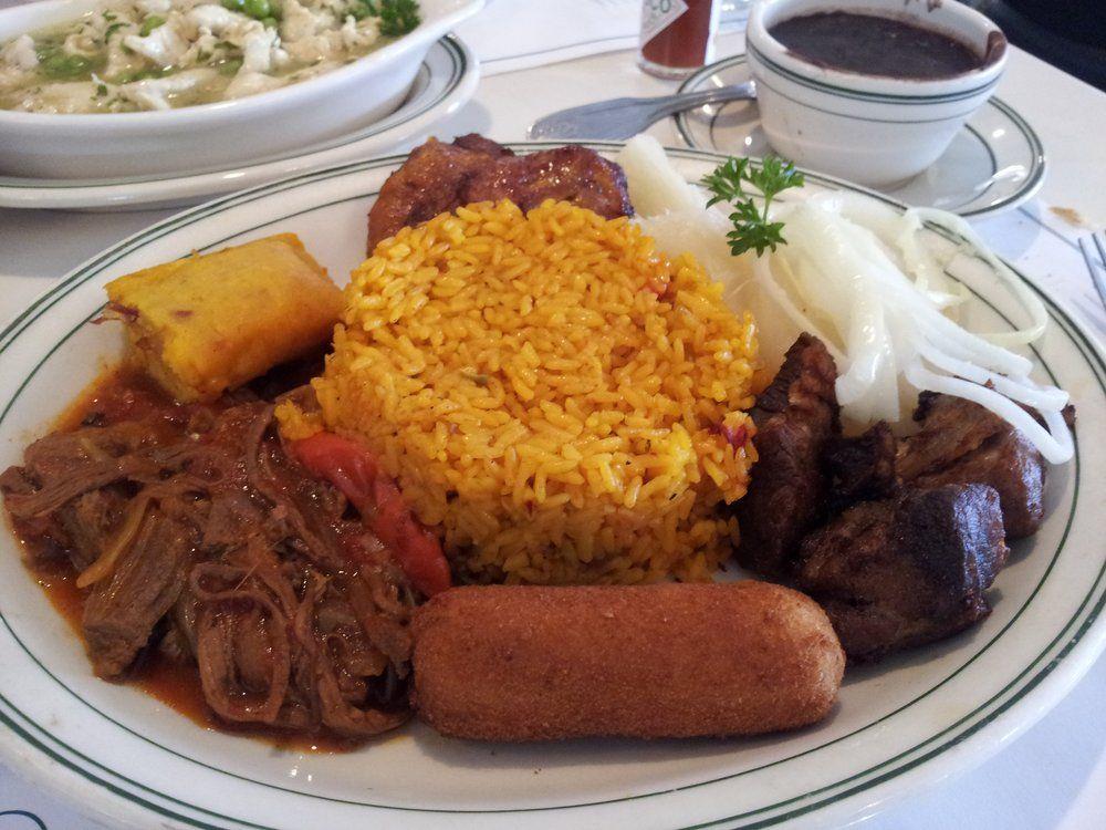 THE CRIOLLO: Rice, Beans, Ropa Vieja, Fried Pork Chunks, Croquette ...