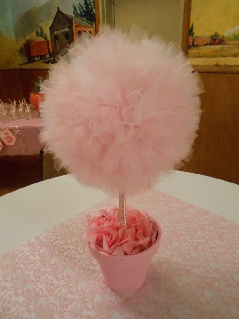 Tutu topiary centerpiece ballerina baby shower