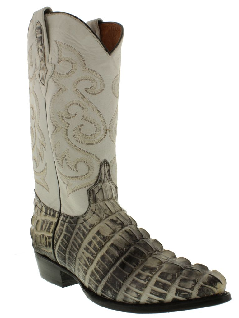 19354f747f3 Details about Mens Beige Crocodile Alligator Tail Print Leather ...