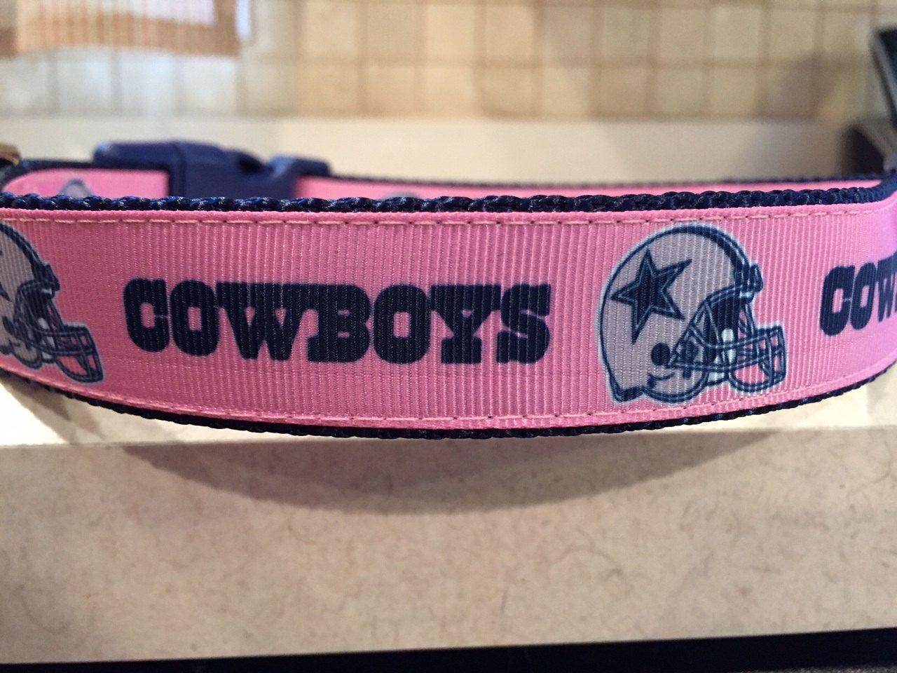 Dallas cowboys pink large and medium dog collar and leash