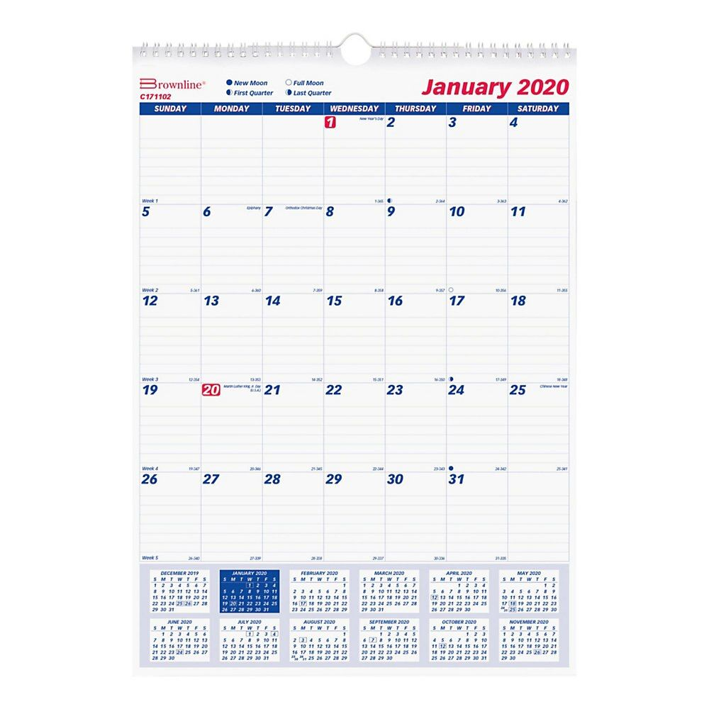 Brownline Ruled Block Monthly Wall Calendar Yes Monthly 1 Year January 2020 Till December 2020 1 Month Sin Wall Calendar Detailed Plans Writing Space