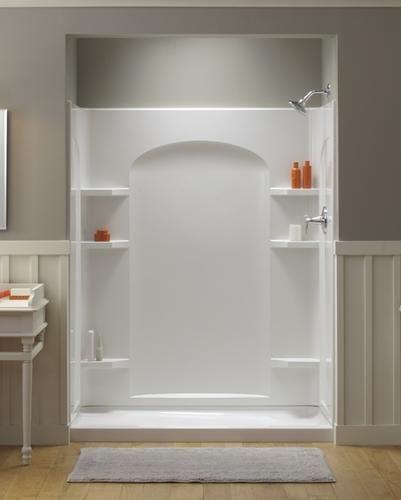 ensemble 60 x 30 end drain high gloss shower stall left hand