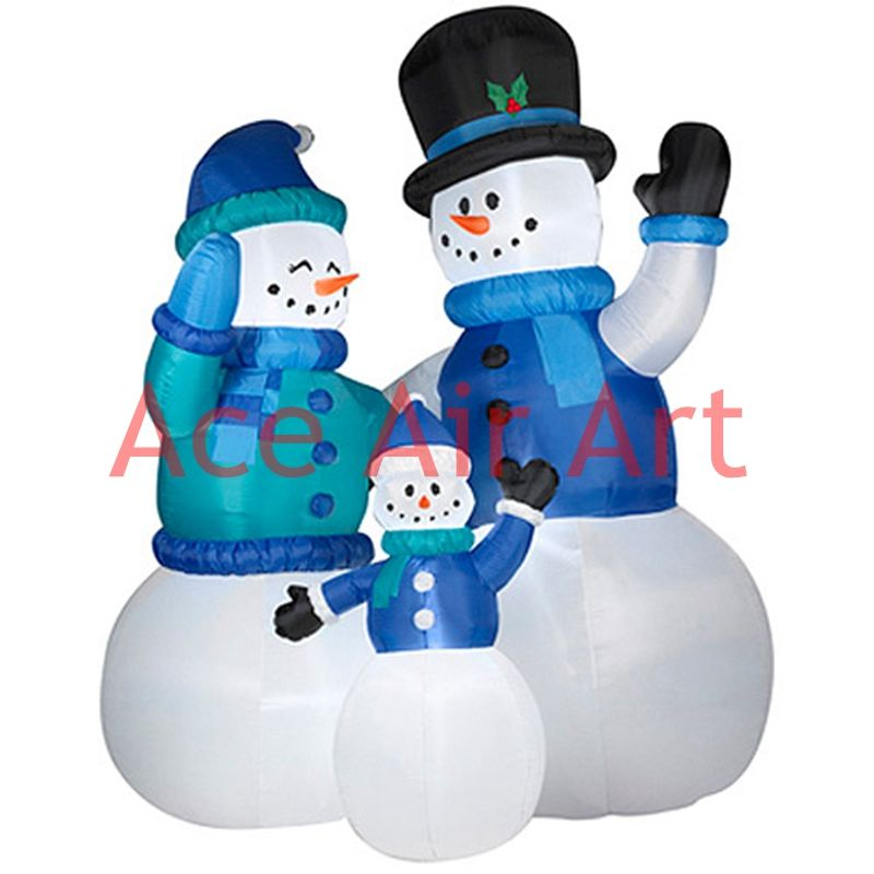 happy inflatable Christmas snowman family for party decoration - christmas blow up decorations